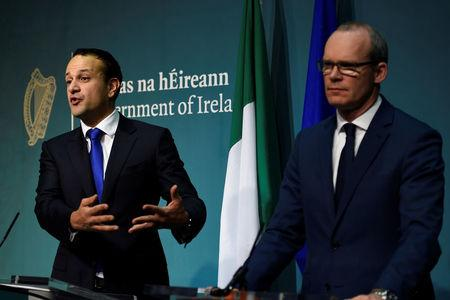 Prime Minister of Ireland Varadkar and Deputy Prime Minister Coveney attend a press conference at Government buildings in Dublin