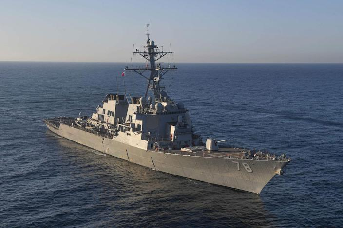 <p>The guided-missile destroyer Porter in the Mediterranean Sea on March 9, 2017. The United States fired a barrage of cruise missiles into Syria from the Porter and USS Ross. (U.S. Navy via AP) </p>