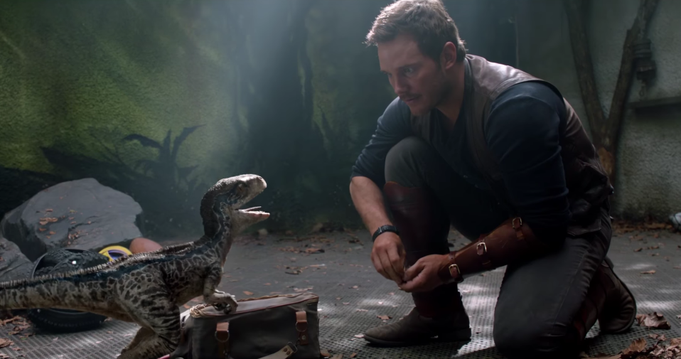 Chris Pratt's Owen Grady is seen petting a young Blue via a brief flashback. (Universal Pictures)
