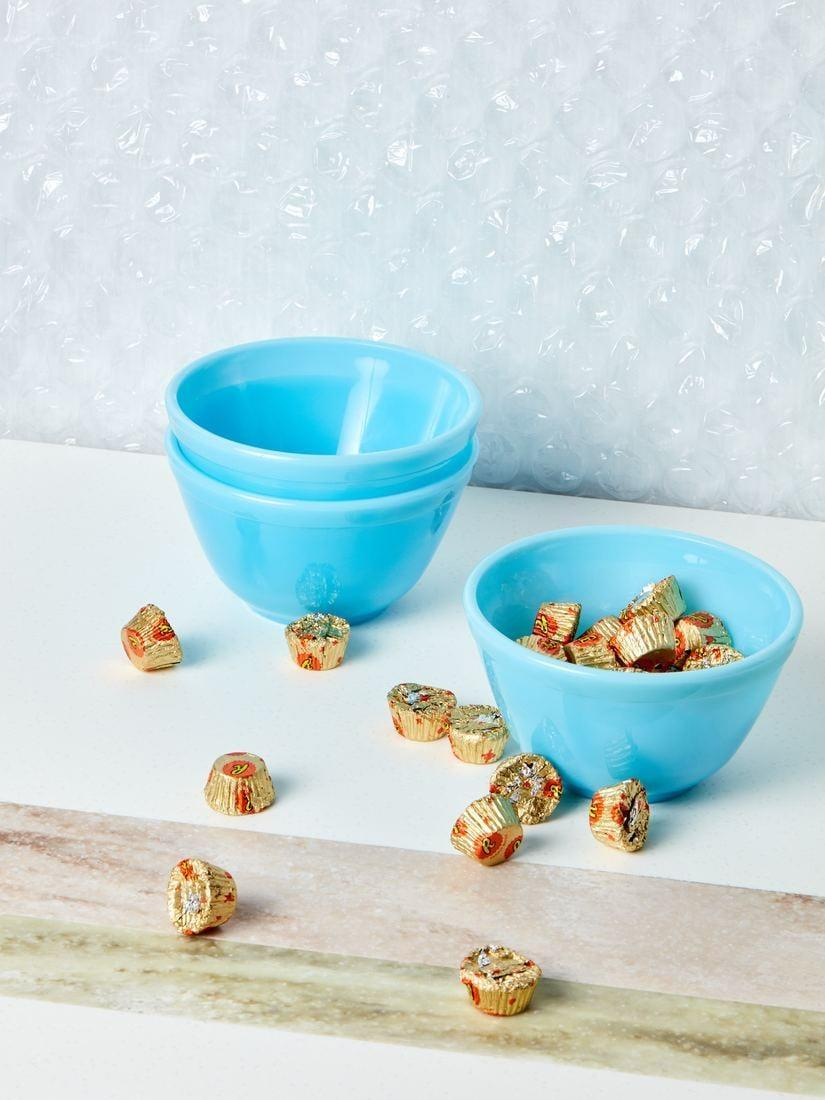 <p>Keep all your favorite candies or treats in this <span>Mosser Glass Blue Milk Glass Bowl</span> ($22).</p>