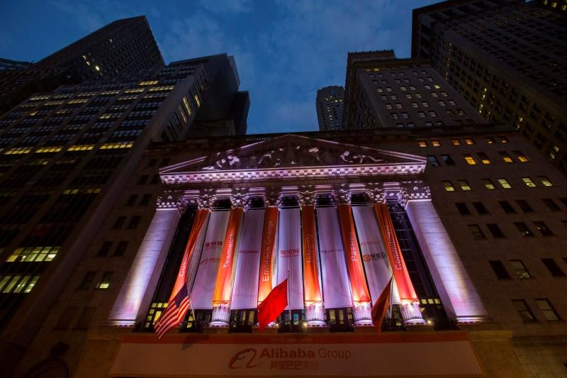 The sign showing the logo of Alibaba Group Holding is seen on the facade of the New York Stock Exchange