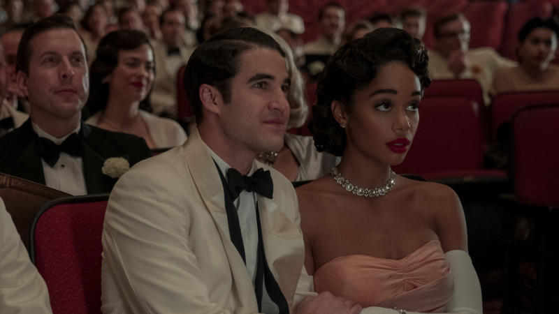 Darren Criss and Laura Harrier in Netflix series 'Hollywood'. (Credit: Saeed Adyani/Netflix)