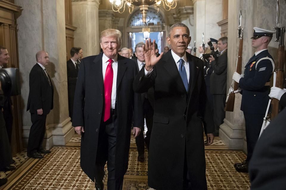 Former President Barack Obama and Trump at the latter's 2017 inauguration. Source: Getty Images