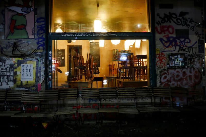 FILE PHOTO: A view of a closed bar in the district of Kreuzberg during coronavirus disease (COVID-19) outbreak in Berlin