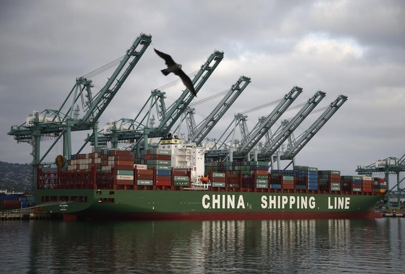 Bird flies past a container ship belonging to China Shipping Container Lines at the Port of Los Angeles in San Pedro