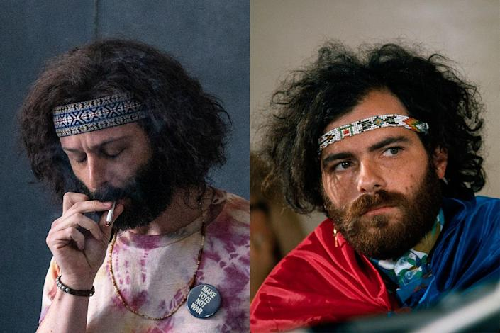 """<p><em>Succession</em>'s Jeremy Strong plays Jerry Rubin, the other cofounder of the Yippies, and yet another Chicago 7 defendant. Unlike Abbie Hoffman though, in the decades after the trial, he would transform his life into that of a successful entrepreneur on Wall Street. (""""I know that I can be more effective today wearing a suit and tie and working on Wall Street than I can be dancing outside the walls of power,"""" he once explained, per the <em><a href=""""https://www.nytimes.com/1994/11/30/obituaries/jerry-rubin-56-flashy-60-s-radical-dies-yippies-founder-and-chicago-7-defendant.html"""" rel=""""nofollow noopener"""" target=""""_blank"""" data-ylk=""""slk:New York Times"""" class=""""link rapid-noclick-resp"""">New York Times</a></em>.)</p>"""