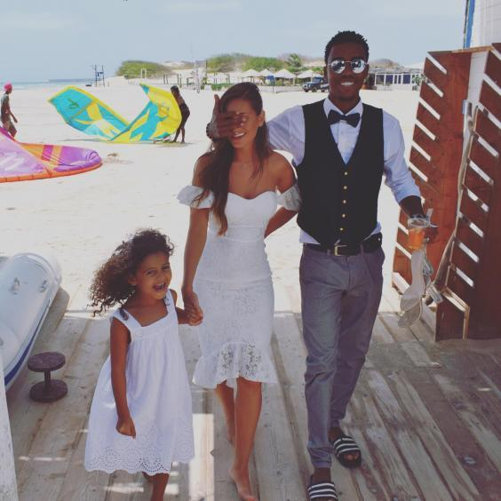 The couple at their Cape Verde wedding in August, with Ms Addiscott's daughter