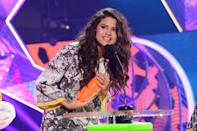 <p>Selena took home the Kids' Choice Award for favorite female singer at the annual ceremony in LA.</p>