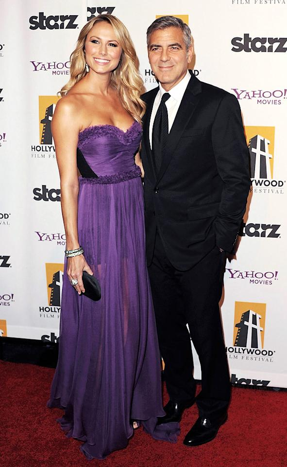"<a href=""http://movies.yahoo.com/movie/contributor/1808539914"">Stacy Keibler</a> and <a href=""http://movies.yahoo.com/movie/contributor/1800019715"">George Clooney</a> at the 15th Annual Hollywood Film Awards in Beverly Hills, California on October 24, 2011."