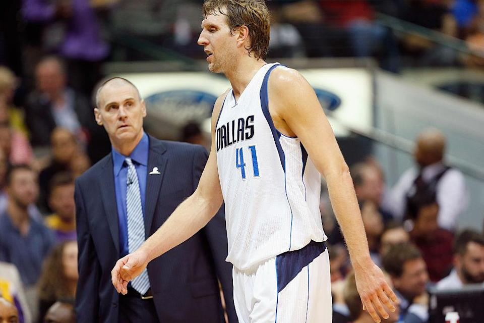 After all these years, Rick Carlisle and Dirk Nowitzki still give Dallas a solid foundation. (Getty Images)