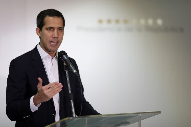 Venezuelan opposition leader Juan Guaido, who many nations have recognised as the country's rightful interim ruler, speaks during a news conference in Caracas