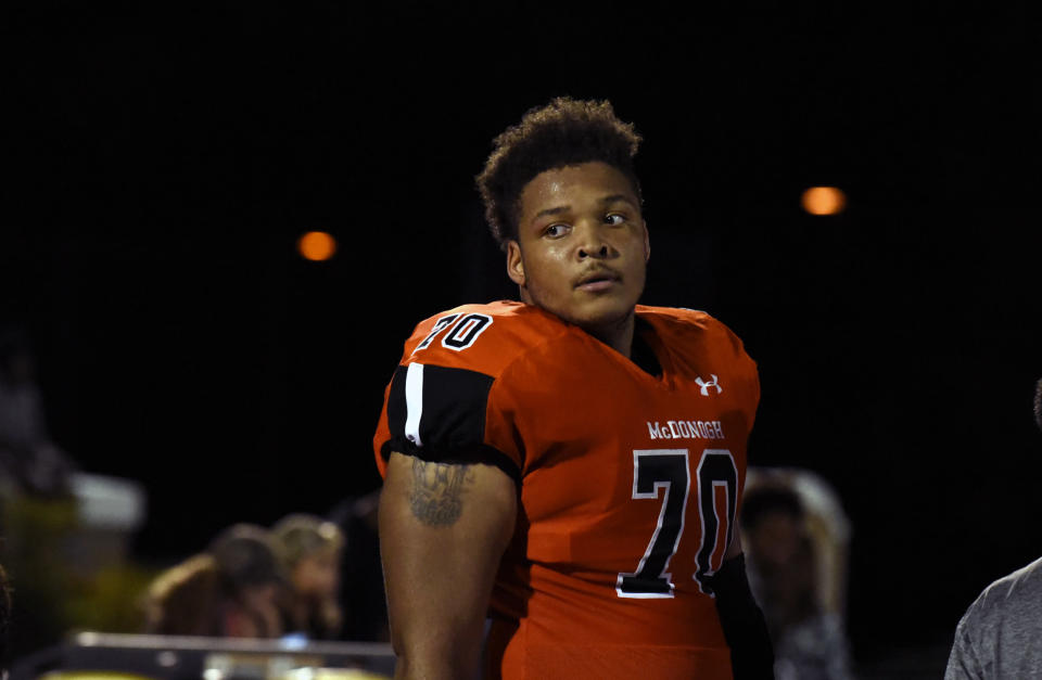 Jordan McNair, shown here in 2016 while still in high school, collapsed during a Maryland practice session in May and subsequently died. (AP)