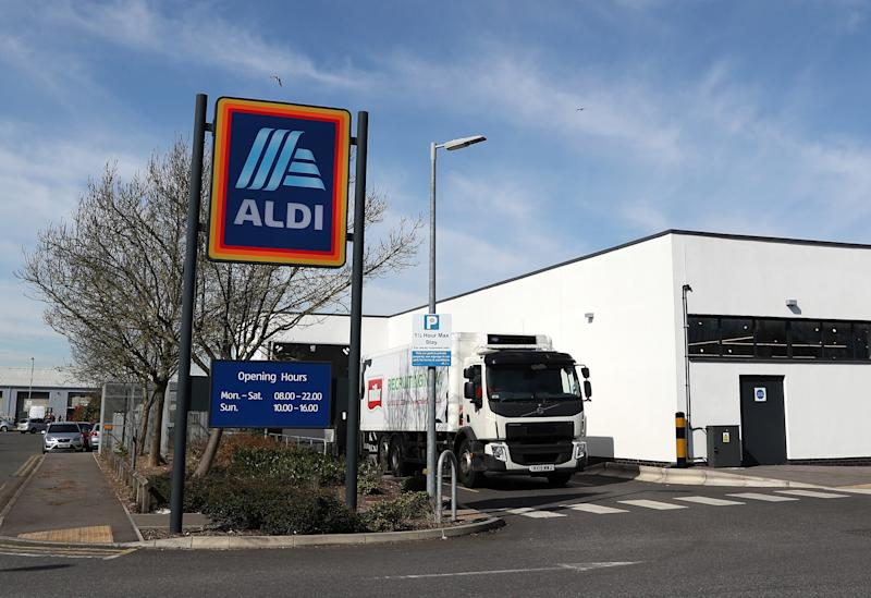 AYLESBURY, ENGLAND - MARCH 23: A lorry delivers to an Aldi supermarket on March 23, 2020 in Aylesbury, England. Coronavirus (COVID-19) pandemic has spread to at least 182 countries, claiming over 10,000 lives and infecting people hundreds of thousands more. (Photo by Catherine Ivill/Getty Images)