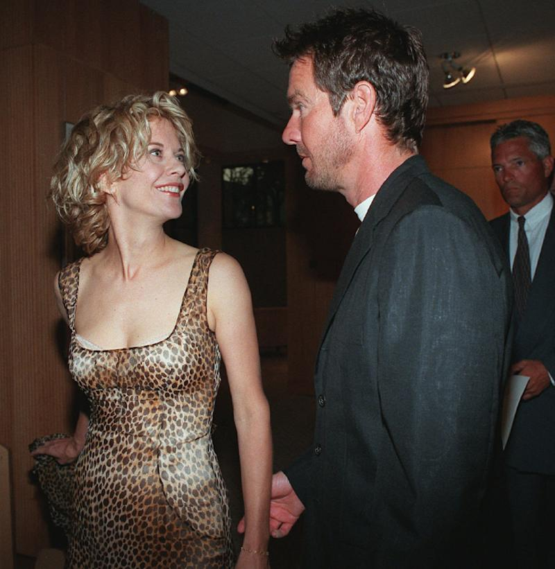 "Meg Ryan, one of the stars of the new film ""Courage Under Fire,"" arrives at the world premiere of the film with her husband, actor Dennis Quaid, Monday, July 8, 1996, at the Academy of Motion Picture Arts & Sciences in Beverly Hills, Calif. (AP Photo/Chris Pizzello)"