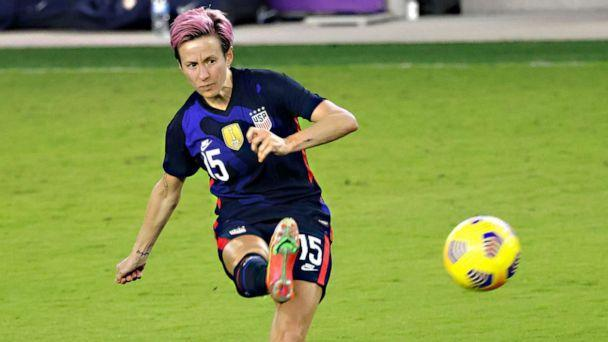 PHOTO: Megan Rapinoe kicks the ball during the second half of a She Believes Cup soccer match against Argentina at Exploria Stadium in Orlando, Fla., Feb. 24, 2021. (Reinhold Matay/USA TODAY Sports via Reuters, FILE)
