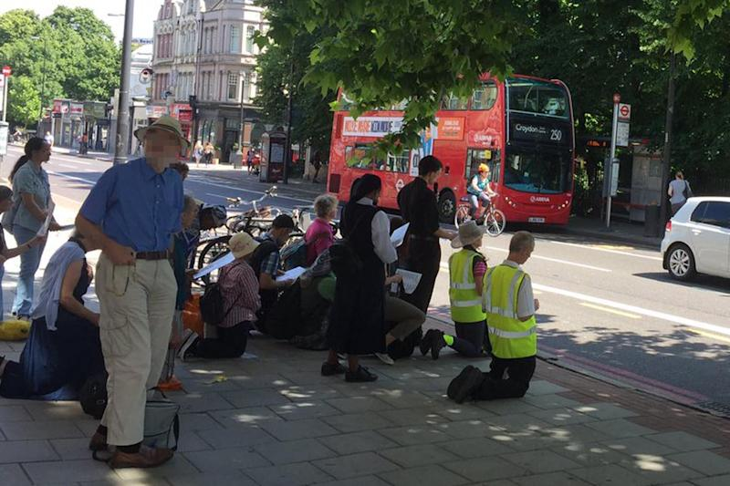 Protesters outside an abortion clinic on Brixton Hill: Twitter