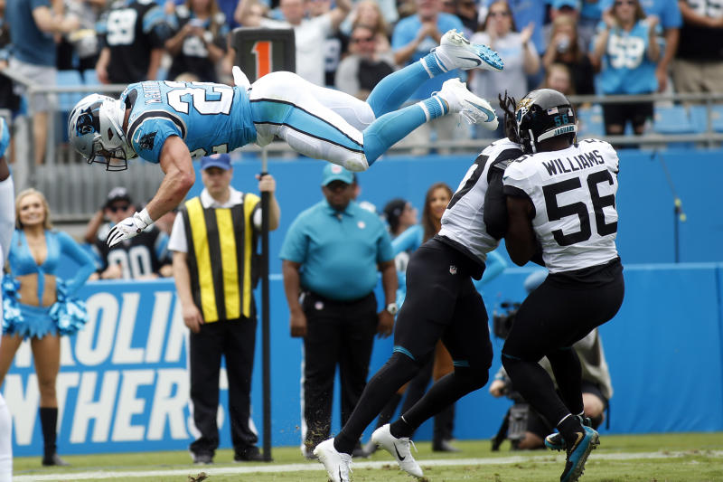 Carolina Panthers running back Christian McCaffrey (22) dives into the end zone for a touchdown during the first half of an NFL football game against the Jacksonville Jaguars in Charlotte, N.C., Sunday, Oct. 6, 2019. (AP Photo/Brian Blanco)