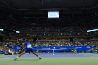 Novak Djokovic, of Serbia, returns a shot to Talon Griekspoor, of the Netherlands, during the second round of the US Open tennis championships, Thursday, Sept. 2, 2021, in New York. (AP Photo/Frank Franklin II)