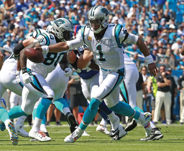 "<a class=""link rapid-noclick-resp"" href=""/nfl/teams/car"" data-ylk=""slk:Carolina Panthers"">Carolina Panthers</a>' <a class=""link rapid-noclick-resp"" href=""/nfl/players/24788/"" data-ylk=""slk:Cam Newton"">Cam Newton</a> looks ready to ascend to peak form on another dominant run for the ages.  (AP Photo/Jason E. Miczek)"