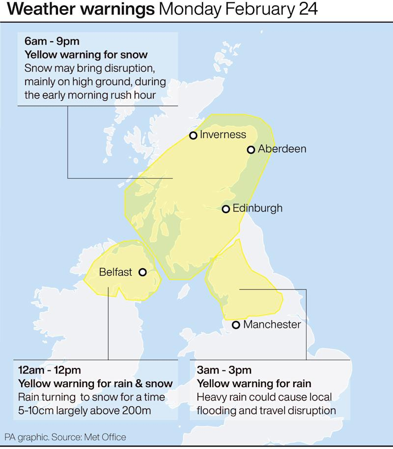 The Met Office has issued Yellow weather warnings