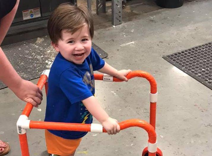 People are now responding to the media's praise of a little boy's DIY walker. (Photo: Facebook)