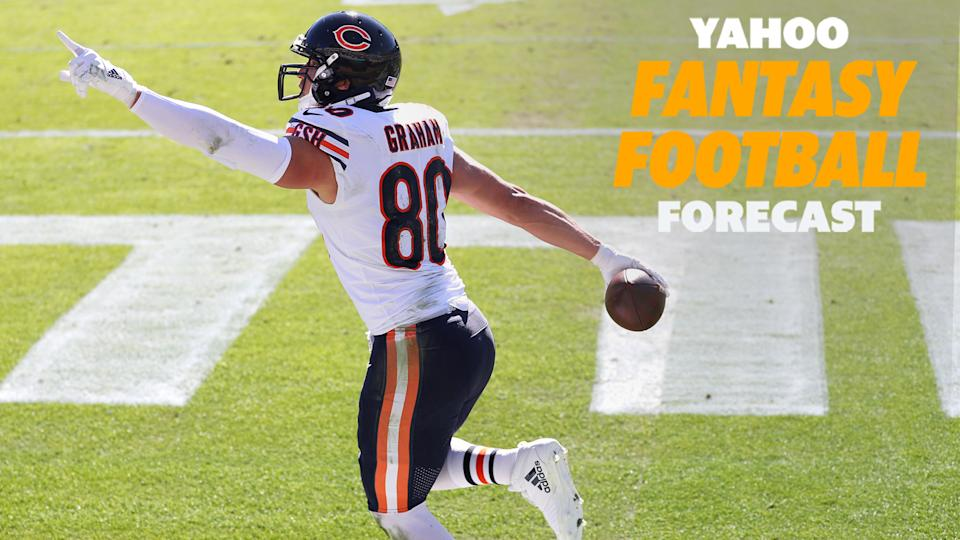 Chicago Bears TE Jimmy Graham celebrates a touchdown during the 2020 season. (Photo by James Gilbert/Getty Images)