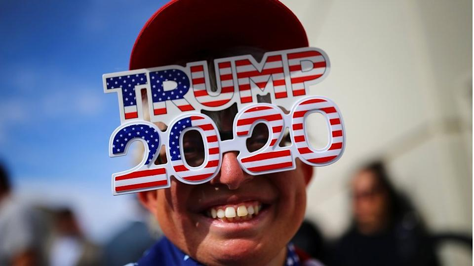 A supporter attends a campaign rally from Donald Trump Jr for U.S. President Donald Trump ahead of Election Day