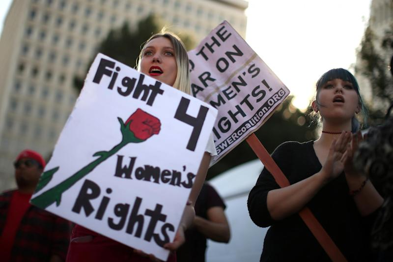 Protesters at an International Women's Day event in Los Angeles in March: Reuters