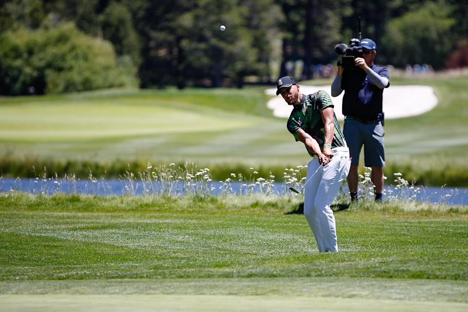 STATELINE, NEVADA - JULY 14: Steph Curry hits his ball back on the green at the 14th hole during the final round of the American Century Championship at Edgewood Tahoe Golf Course on July 14, 2019 in Stateline, Nevada. (Photo by Jonathan Devich/Getty Images)