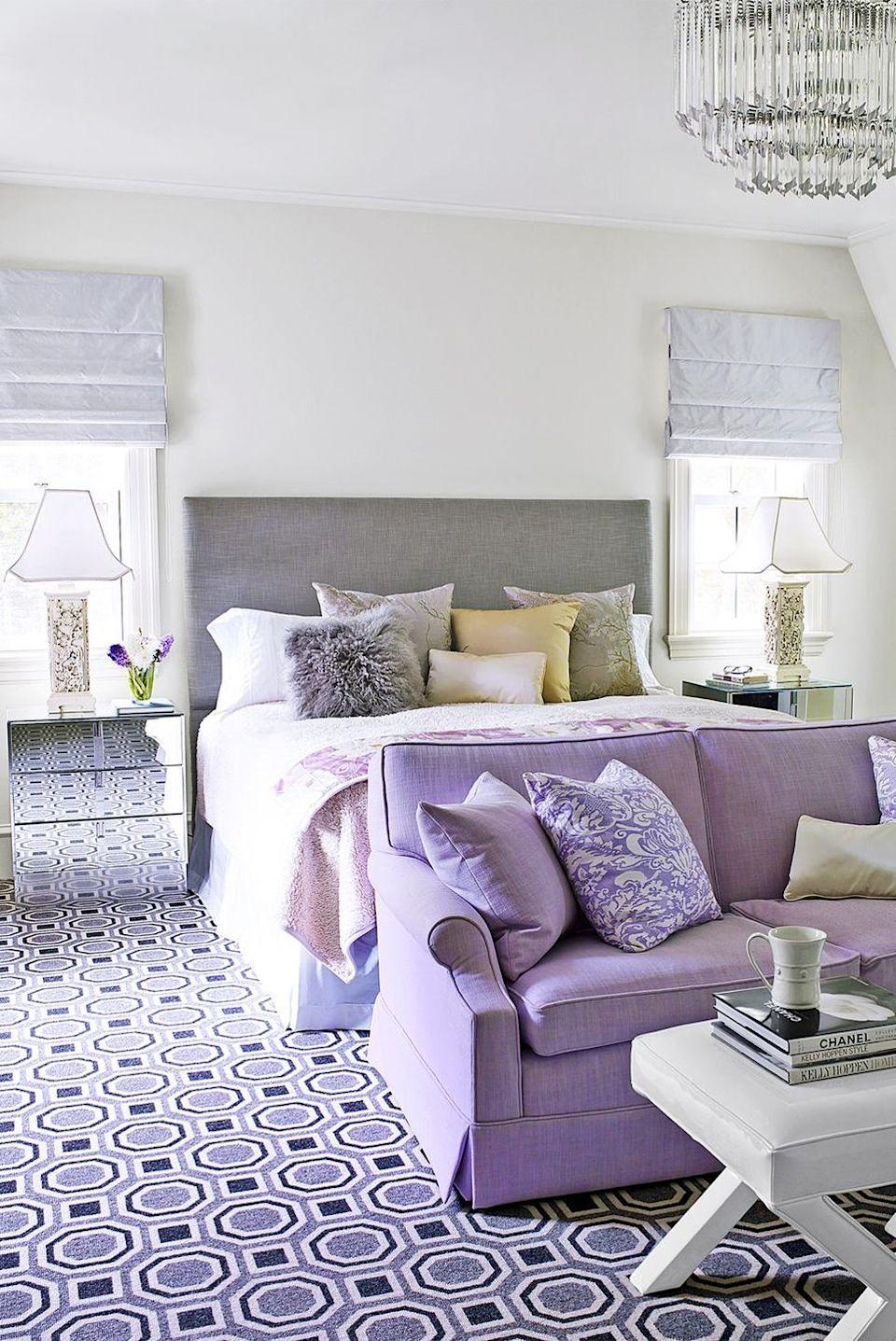 <p>When paired with versatile neutrals, glam decorative pieces like a statement rug, a crystal chandelier, and mirrored nightstands can really shine.</p>