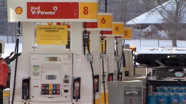 Gas pumps are seen in Halifax on Friday, March 19, 2021. In the Halifax area, prices dropped eight cents to a minimum of $1.23 per litre for regular gas on Saturday.  (Patrick Callaghan/CBC - image credit)