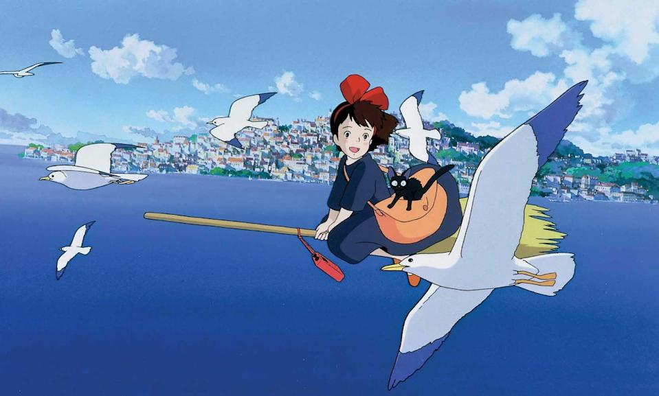"<p>This '90s animated movie is a sweet Hayao Miyazaki classic. <a href=""https://www.popsugar.com/tech/Kiki-Delivery-Service-Bakery-Japan-40532077"" class=""link rapid-noclick-resp"" rel=""nofollow noopener"" target=""_blank"" data-ylk=""slk:Kiki the witch"">Kiki the witch</a> moves to a seaside town with her talking cat, Jiji, to spend a year alone in order to fulfill a requirement by her village's witch-training program. After starting her own delivery business, Kiki loses her powers due to self-doubt and must find a way to get her magic back. </p> <p><a href=""https://play.hbomax.com/feature/urn:hbo:feature:GXrHTGwYHRnUYOAEAAABC?camp=googleHBOMAX&action=play"" class=""link rapid-noclick-resp"" rel=""nofollow noopener"" target=""_blank"" data-ylk=""slk:Watch Kiki's Delivery Service on HBO Max."">Watch <strong>Kiki's Delivery Service </strong>on HBO Max. </a></p>"