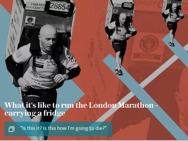 What it's like to run the London Marathon - carrying a fridge