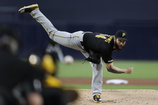 Pittsburgh Pirates starting pitcher Trevor Williams works against a San Diego Padres batter during the first inning of a baseball game Thursday, May 16, 2019, in San Diego. (AP Photo/Gregory Bull)
