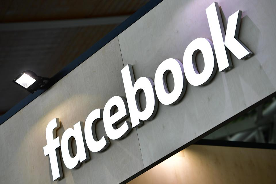 HANOVER, GERMANY - JUNE 12: The Facebook logo is displayed at the 2018 CeBIT technology trade fair on June 12, 2018 in Hanover, Germany. The 2018 CeBIT is running from June 11-15. (Photo by Alexander Koerner/Getty Images)