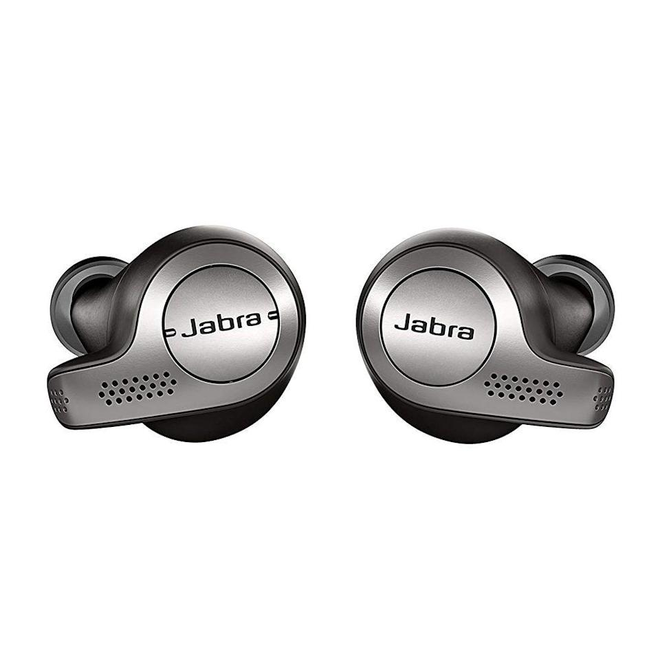 """<p><strong>Jabra</strong></p><p>amazon.com</p><p><strong>$49.99</strong></p><p><a href=""""https://www.amazon.com/dp/B077ZGRVRX?tag=syn-yahoo-20&ascsubtag=%5Bartid%7C2089.g.1453%5Bsrc%7Cyahoo-us"""" rel=""""nofollow noopener"""" target=""""_blank"""" data-ylk=""""slk:Shop Now"""" class=""""link rapid-noclick-resp"""">Shop Now</a></p><p>If your dad kicks up his cardio in the morning, lifts weights to wind down at night, or just goes for an evening stroll, he'll appreciate a pair of discreet wireless earbuds. The Jabra Elite 65t are completely wireless and offer top-notch sound quality, making them a perfect Father's Day gift. </p>"""