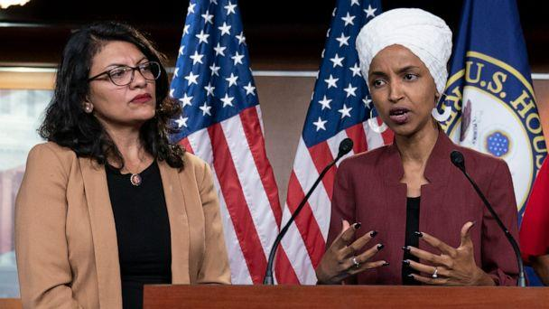PHOTO: Rep. Ilhan Omar, right, speaks, as Rep. Rashida Tlaib listens, during a news conference at the Capitol in Washington, July 15, 2019. (J. Scott Applewhite/AP, FILE)