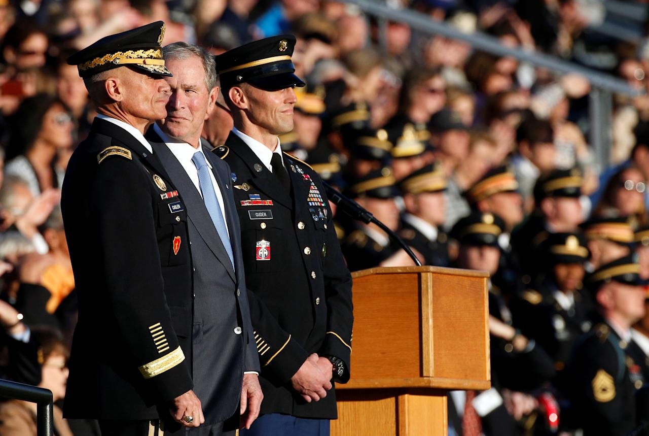 Former U.S. President George W. Bush watches the cadet corp as he is honored with the Sylvanus Thayer Award at the United States Military Academy in West Point, New York, U.S., October 19, 2017. REUTERS/Brendan McDermid