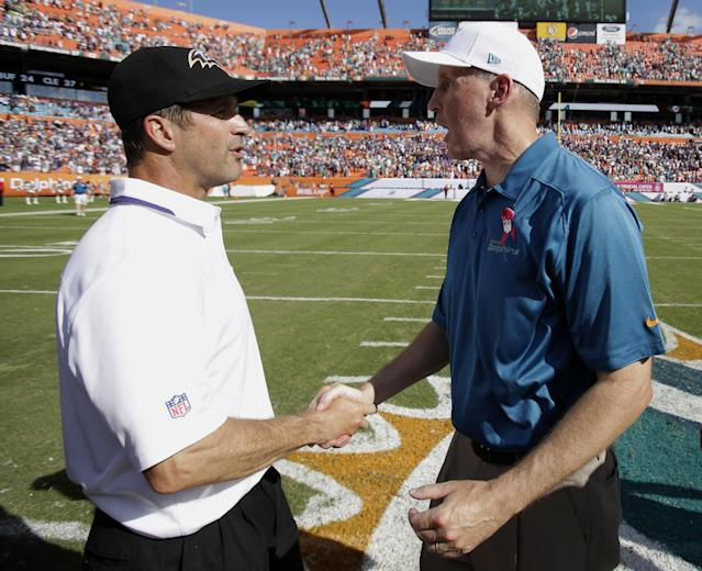 Baltimore Ravens head coach John Harbaugh, left, and Miami Dolphins head coach Joe Philbin shake hands after the Ravens defeated the Dolphins 26-23 in an NFL football game, Sunday, Oct. 6, 2013, in Miami Gardens, Fla. (AP Photo/Wilfredo Lee)