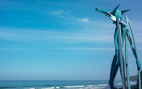 watergate bay hotel, cornwall, warrior of the surf sculpture - Credit: Holly Donnelly