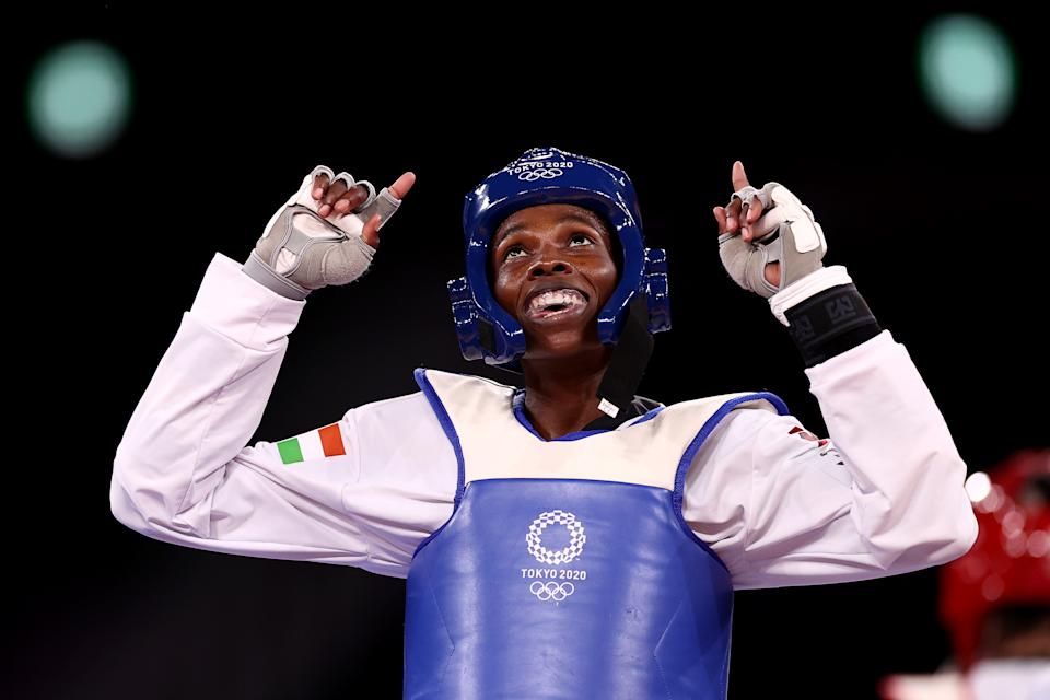 <p>CHIBA, JAPAN - JULY 25: Tekiath Ben Yessouf of Team Niger celebrates after defeating Fani Tzeli of Team Greece during the Women's -57kg Taekwondo Repechage contest on day two of the Tokyo 2020 Olympic Games at Makuhari Messe Hall on July 25, 2021 in Chiba, Japan. (Photo by Maja Hitij/Getty Images)</p>