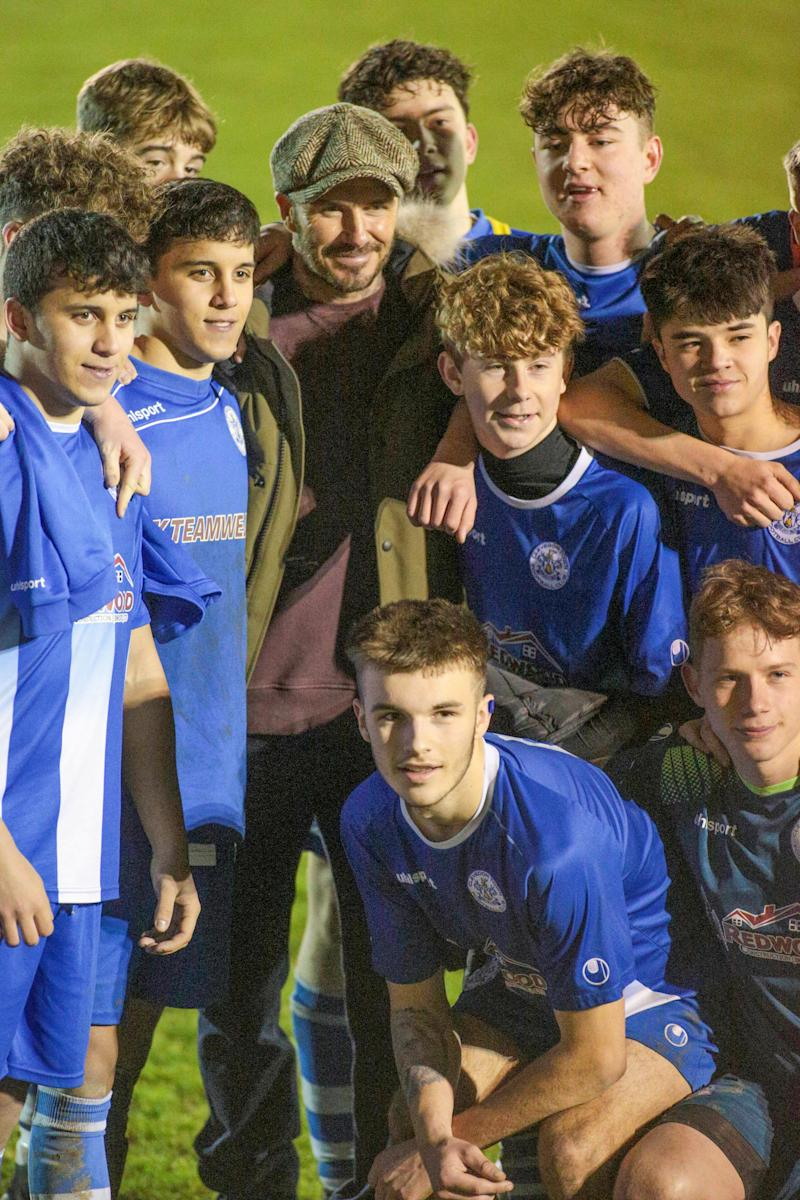 "Clevedon Town tweeted following the match: ""David Beckham it was an absolute pleasure having you watch our U18s tonight."" (Jon Mills / SWNS)"