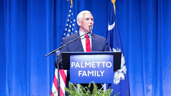 <p>Mike Pence pictured in a photo posted by him on Twitter today giving his first speech since leaving office</p> (Twitter/Mike Pence)