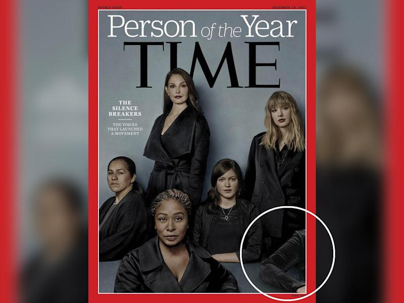 The anonymous woman's elbow appears on Time's 'person of the year' cover: Time