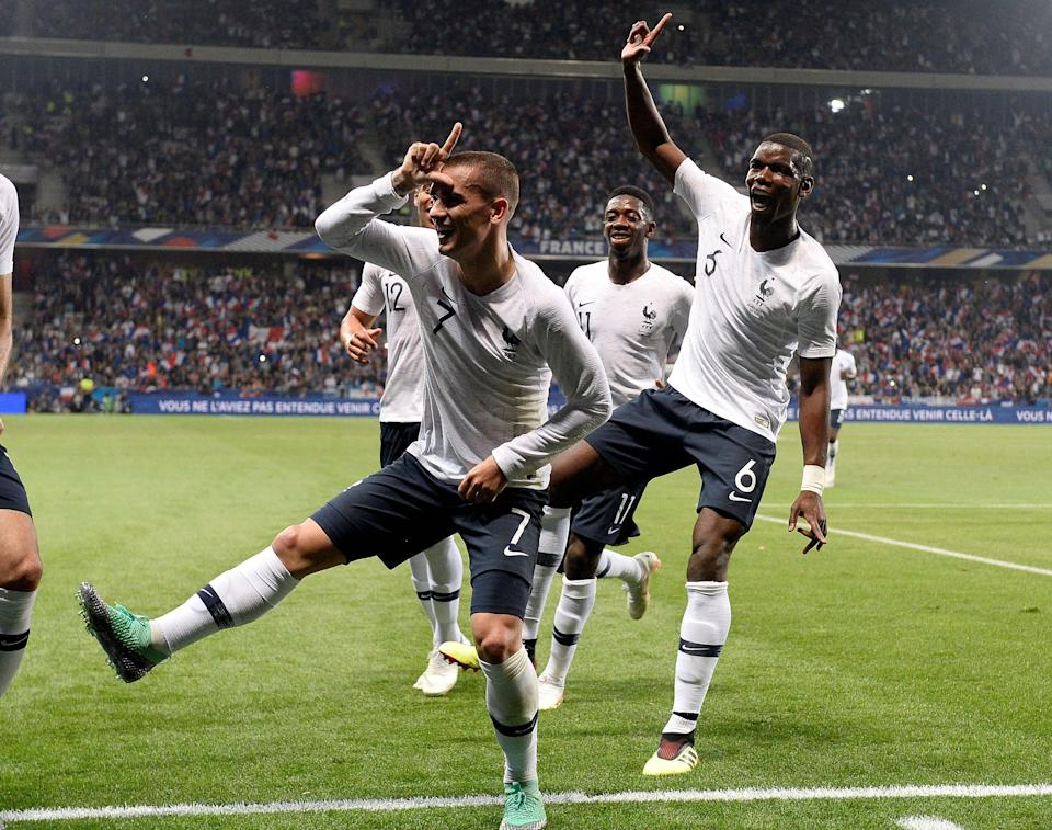 Antoine Griezmann and Paul Pogba celebrate Griezmann's goal in a recent friendly ahead of the 2018 World Cup. (Getty)