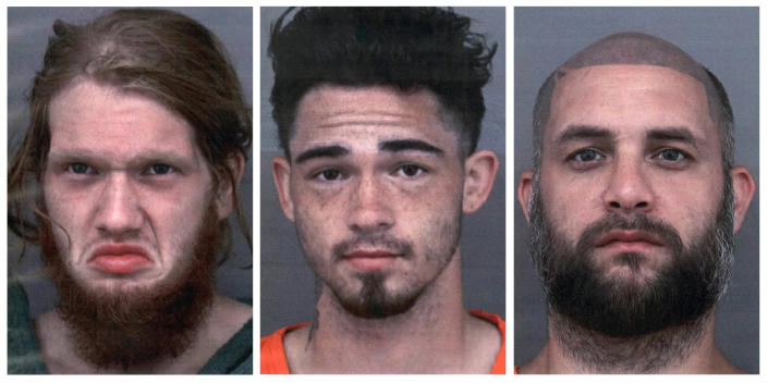 This combo of undated photos provided by the Cherokee County, Texas, Sheriff's Office shows, from left, Dylan Welch, Jesse Pawlowski and Billy Phillips. The three men, charged in the fatal shootings of four people in East Texas this week, met up with one of the victims under the pretense of buying a gun from him, but planned to steal it, according to a court document. All three have been charged with capital murder in killings near New Summerfield, Texas. (Cherokee County Sheriff's Office via AP)