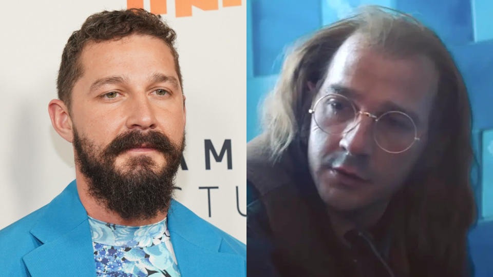 LaBeouf sports a balding wig and enormous glasses to embody a version of his own father in the bracing drama <em>Honey Boy</em>. He wrote it too. (Credit: Rachel Luna/FilmMagic/Sony)