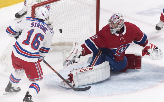 Montreal Canadiens goaltender Carey Price is scored on by New York Rangers' Ryan Strome during the second period of an NHL hockey game, Saturday, Dec. 1, 2018, in Montreal. (Graham Hughes/The Canadian Press via AP)