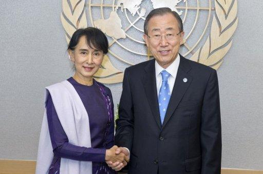 Aung San Suu Kyi on Friday visited UN headquarters where she met with UN secretary general Ban Ki-moon