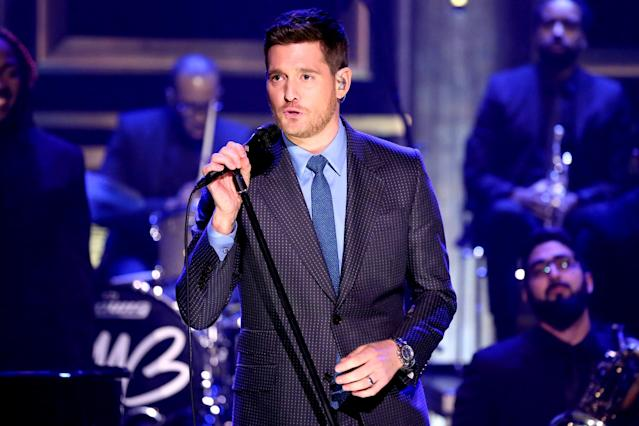 <p>Look for Bublé's <i>Nobody But Me</i> to edge out <i>Tony Bennett Celebrates 90</i> and Bob Dylan's <i>Triplicate</i>. Bublé, a four-time winner in this category, took a year off to be with his son, Noah, who was diagnosed with cancer in 2016. (Photo: Andrew Lipovsky/NBC/NBCU Photo Bank via Getty Images) </p>